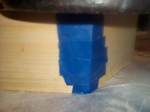 taped exterior joining two pieces cut at a  30 Degree angle