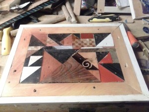 scrap wood mosaic wall hanging